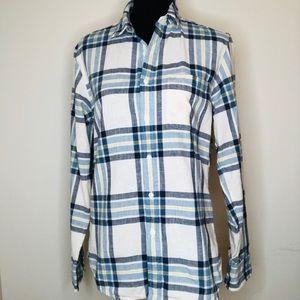J CREW🍃Blue Plaid Button Down Shirt / Blouse Top